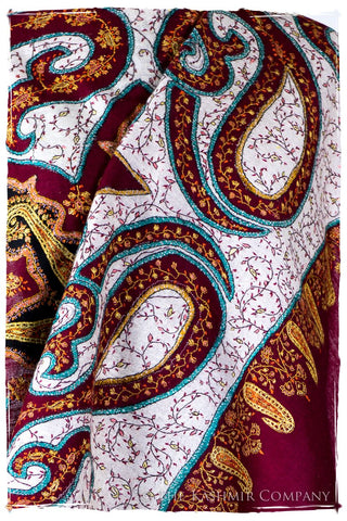 The Mona Lisa Bordeaux Aspen Gold Blanc Deux Shawl