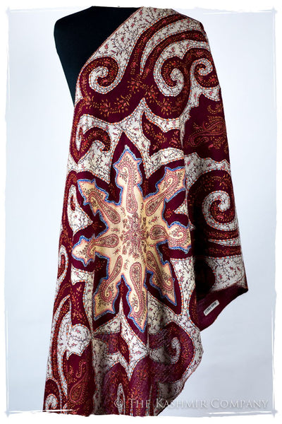 The Mona Lisa Bordeaux Gold Blanc Deux Shawl