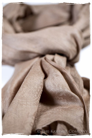 Frosted Almond Paisley Kashmir Wool Scarf