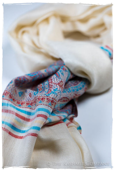 Gelsomina Frontière Ivory Kashmir Wool Scarf