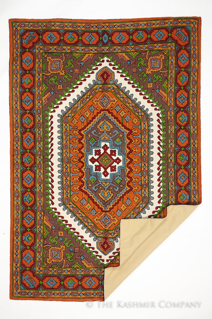 the oasis hand embroidered crewel rug — seasons by the kashmir company