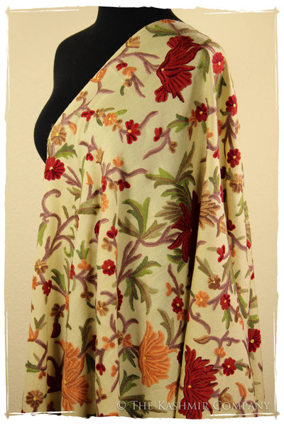 Nishaat Garden in Fall Bloom Ivory Shawl