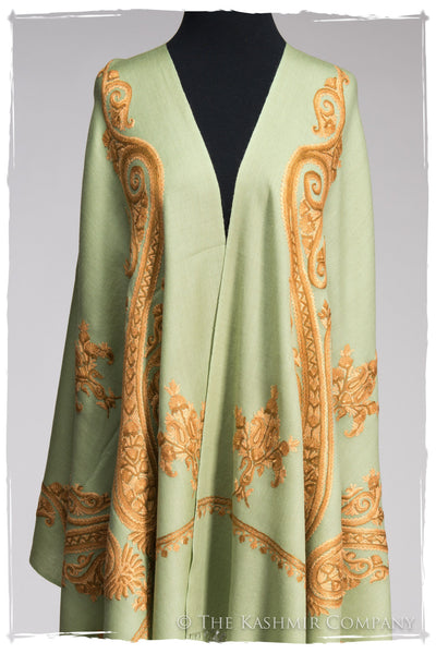 Regal Paisley Celadon Hazel Shawl