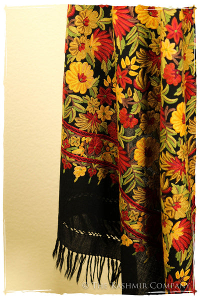 San Francisco Fall Garden Black Kashmir Shawl