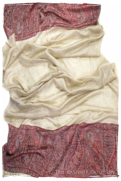 Jacquard Frontiere Rouge Taupe Cashmere Scarf