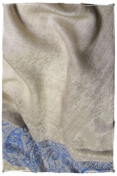 Jacquard Frontiere Bleu Taupe Cashmere Scarf