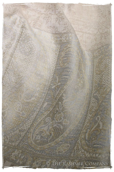 Jacquard Frontiere Silver Taupe Cashmere Scarf