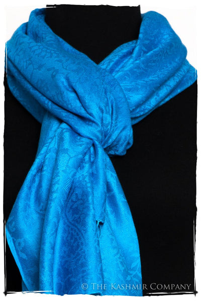 French Blue Royale Paisley Silk Scarf / Shawl