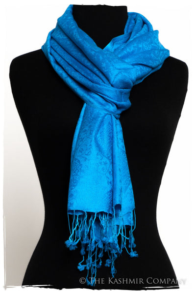 French Blue Jacquard Paisley Silk Scarf / Shawl