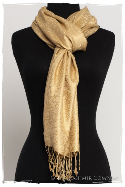 Aztec Gold Royale Paisley Silk Scarf / Shawl