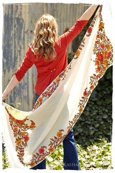 Frontiere Jardin Teintes d'orange Mascarade Shawl