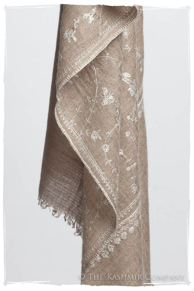 Taupe Blanc Paisley L'amour Soft Cashmere Scarf/Shawl
