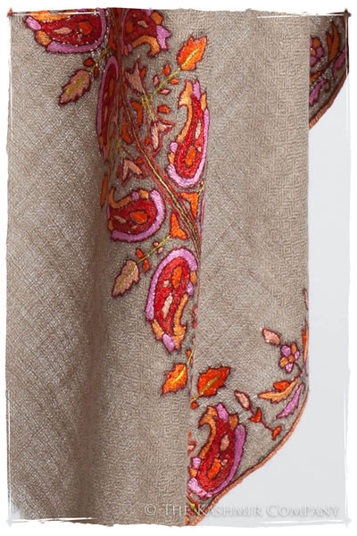 Orient Taupe Paisley L'amour Soft Cashmere Scarf/Shawl