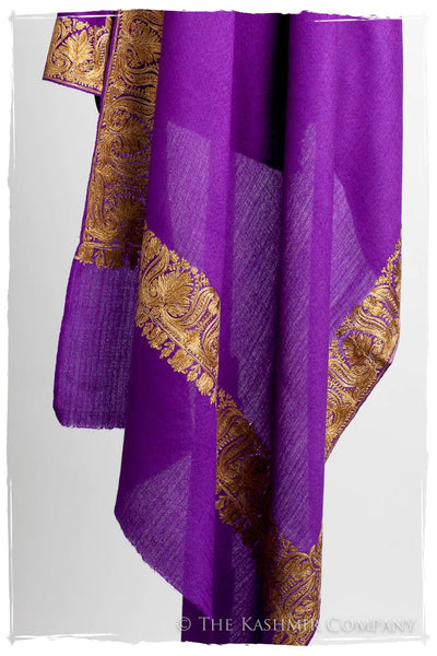 The Sophistiqué Oro Lilac Lotus Frontière Shawl
