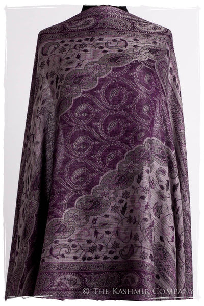 Impérial Purple Mughal Paisley Reversible Soft Cashmere Scarf/Shawl