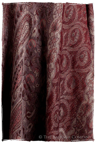 Bordeaux Mughal Paisley Reversible Soft Cashmere Scarf/Shawl