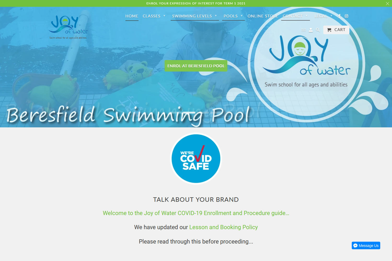 Welcome to the New Joy of Water Swim School website