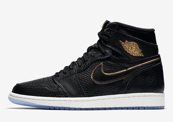 The Air Jordan 1 Retro High OG In Black Tumbled Leather And Gold