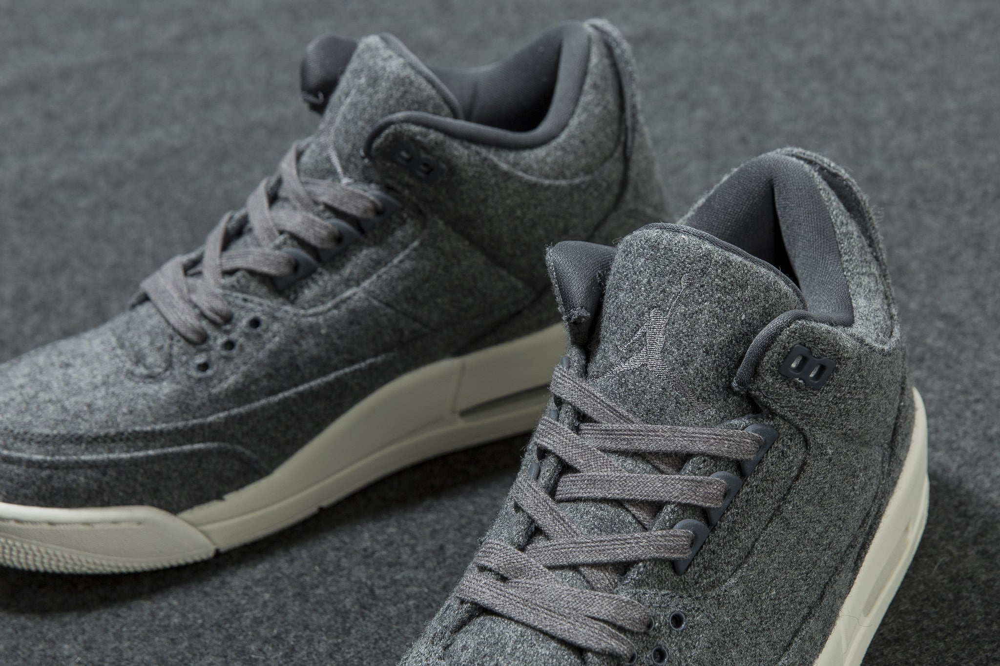 The Wool release of the Air Jordan 3 features a Dark Grey and Sail color  combination. Just like the Air Jordan 12  Wool  6a90118df