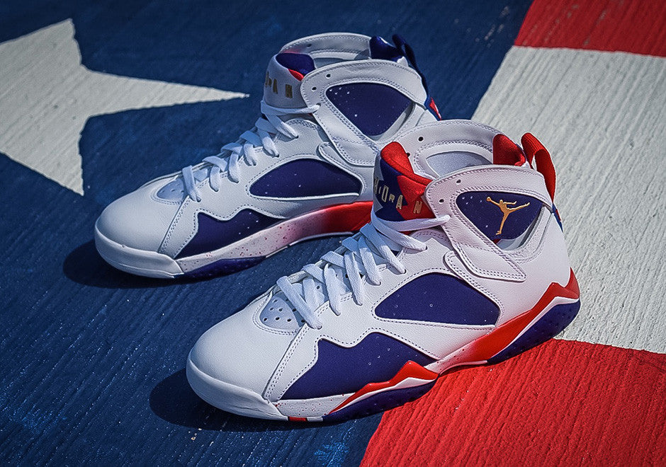 "27ab31f46a4 The Air Jordan 7 ""Tinker Alternate"" is an alternate version of the Air  Jordan 7 ""Olympic"" that is designed by Tinker Hatfield to coincide with the  2016 ..."