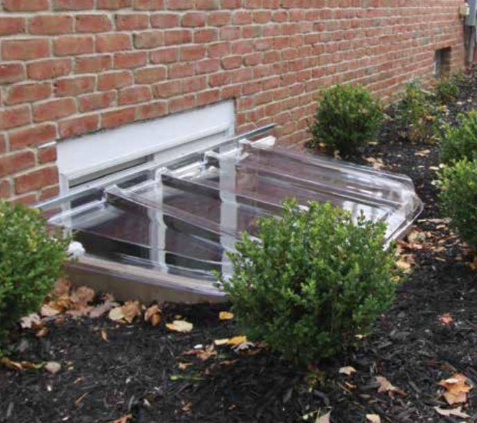 exterior view of a Transparent Wellcraft Egress Window Well cover