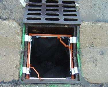 Flexstorm inlet filter in a square drain