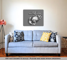 Load image into Gallery viewer, US Marines EGA brass emblem in Black and White