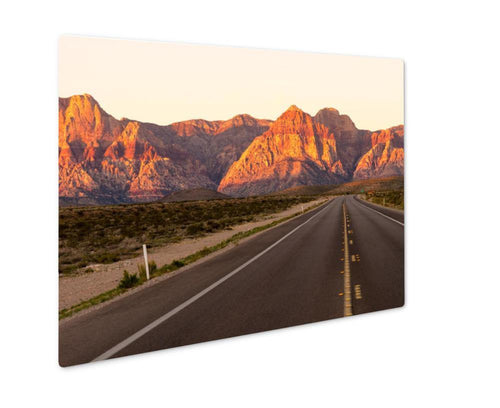 Two lane highway to Red Rock Canyon Las Vegas USA