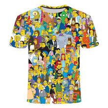 Load image into Gallery viewer, Simpson animation 3D printed T-shirts