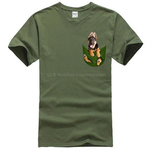 German Shepherd in pocket t-shirt Dog