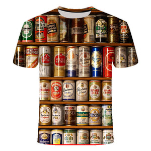 Novelty 3D t shirt cans beer