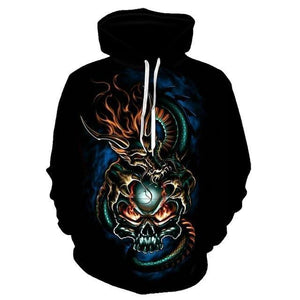 Women hoodies skull 3D