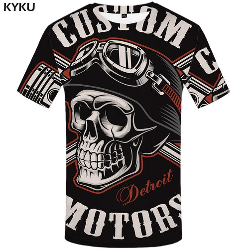 Skull T Shirt Men Black Tshirt Funny Punk Rock