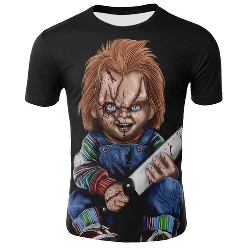 Chucky T-shirt 3D printing T-shirt Cool men