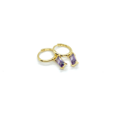 LILAC CRYSTAL RECTANGLE  HUGGIE HOOP EARRINGS