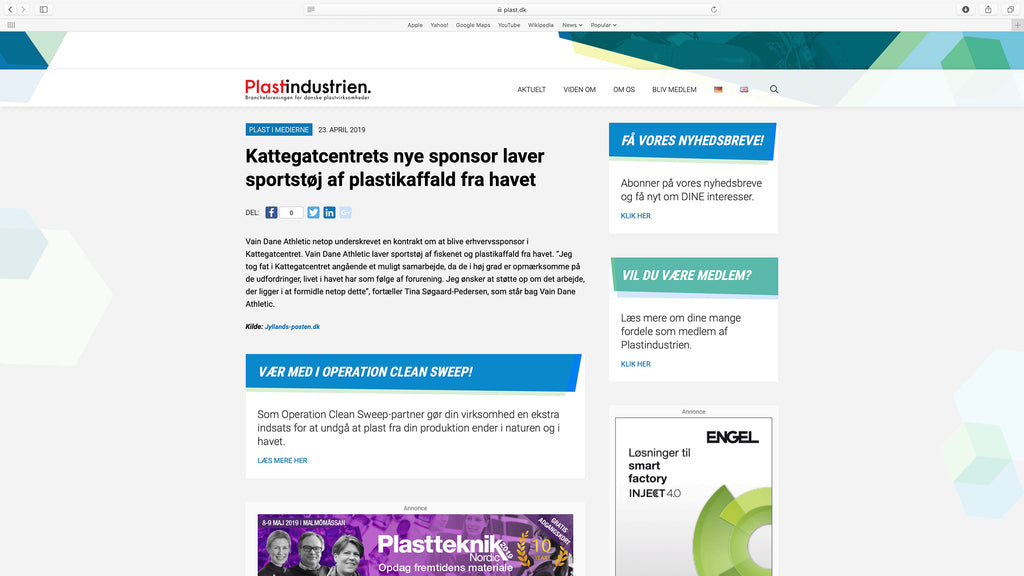 Vain Dane Athletic was mentioned on Plastindustriens website