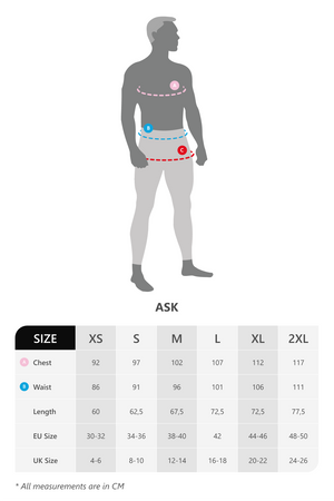 Size chart for all Ask men's t-shirts