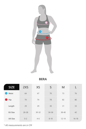 Size chart for Vain dane Athletic's Bera shorts for women. Made with regenerated ECONYL yarn