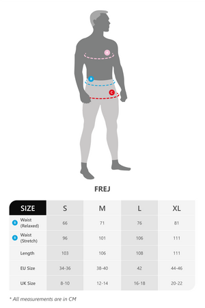 Size chart for vain dane athletic's Frej sweat pants made with Tencel fibers