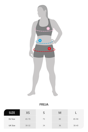 Size chart for Vain Dane Athletic's Freja bra in black. Made with regenerated ECONYL yarn