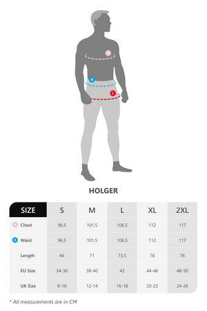 Size chart for Vain dane athletic men's running shirt in econyl yarn