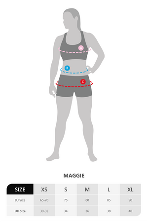 Size chart for Vain Dane Athletic's Maggie bra in black made with regenerated ECONYL nylon yarn