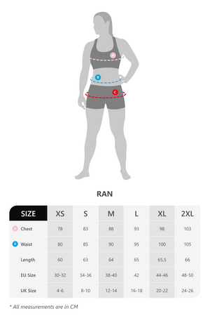 Size chart for vain dane athletic's Ran long sleeved running shirt. Made with ECONYL yarn.