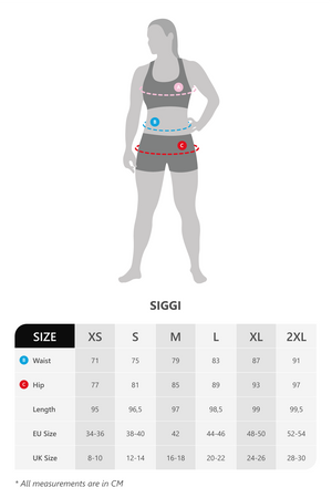 Size chart for Vain Dane Athletic Siggi highwaisted leggings made with regenerated ECONYL nylon