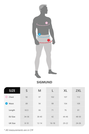 Size chart for vain dane athletic long sleeved running shirt for men. Made with ECONYL yarn.