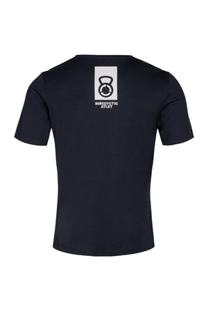 vain dane athletic ask t-shirt for men. Dark blue with sustainable athlete logo in Danish