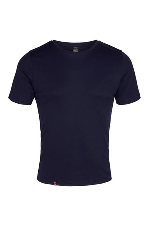 vain dane athletic ask t-shirt for men. Dark blue with sustainable athlete logo
