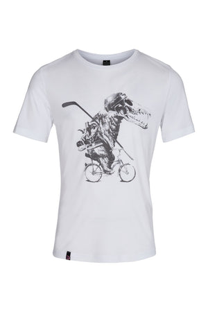White Tencel T-shirt with bear on bicycle with skull helmet