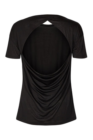vain dane athletic Embla open back shirt in black. Made with Tencel fibers