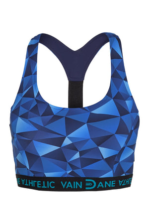 Vain Dane Athletic's Freja bra in blue pattern. Made with regenerated ECONYL yarn